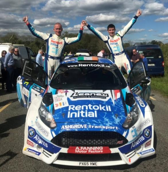 Craig Breen (Right) and Paul Nagle celebrate victory in the Killarney Rally of the Lakes