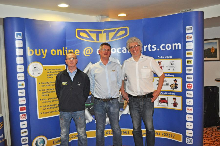 Pictured LtoR, Aidan Kelly and Pearse Hunter of OTTO Galway  with Achim Villmow of MS Motor Service (PIERBURG).