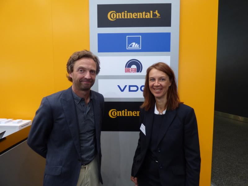Pictured at the Continental stand at Automechanika are Barry McDowell of OTTO, one of the ATE distributors in Ireland, with Keristin Eberz, Regional Sales Manager for Continental.