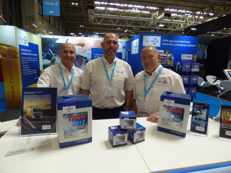 The FUCHS team with the innovative Lube Cube packaging. Pictured left to right are, Richard Rogers, Rob East and Kevin McNnelly.