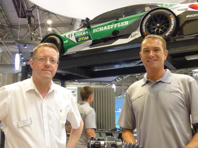 Schaeffler Aftermarket Marketing and Communications Manager, Jeff Earl and REPXPERT Trainer Alistair Mason pictured on the impressive Schaeffler stand.