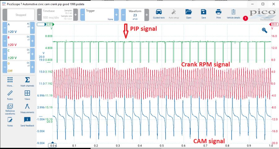 This scope trace was taken at idle and shows signals for Crank RPM and cam position, and the returning PIP to the amplifier