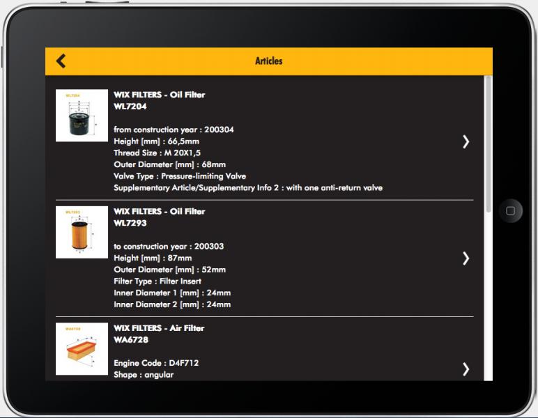 TecDoc develops WIX filter information app